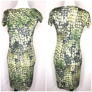 Max Mara Green Silk Pattern Draped Bodycon Dress